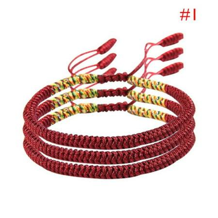Tibetan Buddhist Love Lucky Charm Bracelets Handmade Red Rope Knot