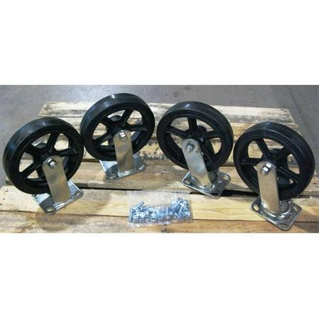 Wesco Platform Trucks - Wesco 272202 6 inch Moldon Rubber Casters for Steel Platform Truck