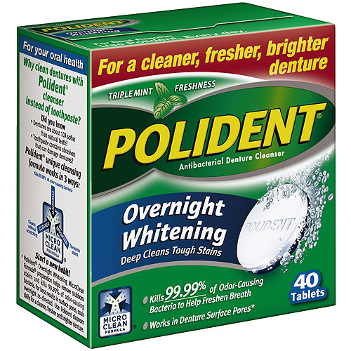 Polident Triple-Mint Antibacterial Denture Cleanser with Overnight Whitening, 40 count