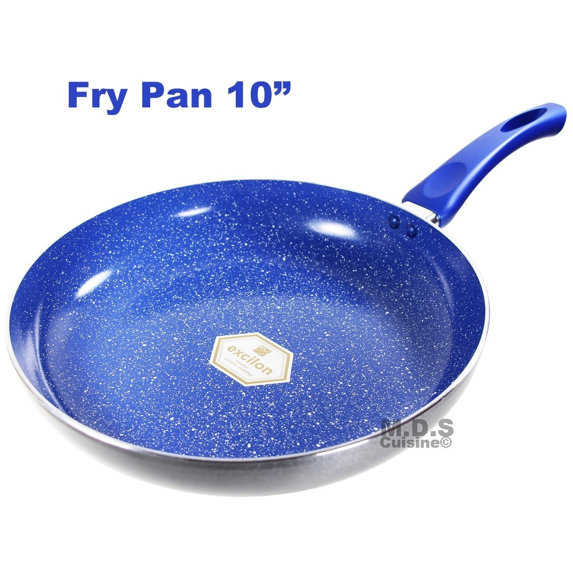 "Fry Pan 10"" Inch Ceramic Marble Coated Non Stick Blue Stone ECO Friendly Skillet Griddle"