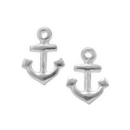 Anchor Earrings Post Stud Sterling Silver 10mm