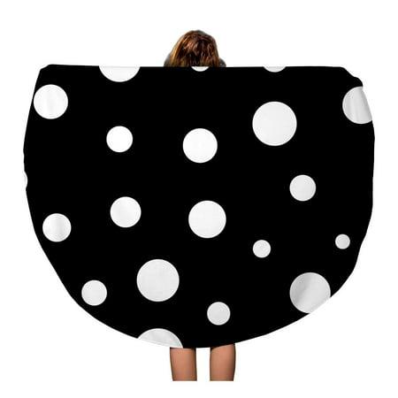 LADDKA 60 inch Round Beach Towel Blanket Big Polka Dot White Modern Abstract Monochrome Small Black Travel Circle Circular Towels Mat Tapestry Beach Throw