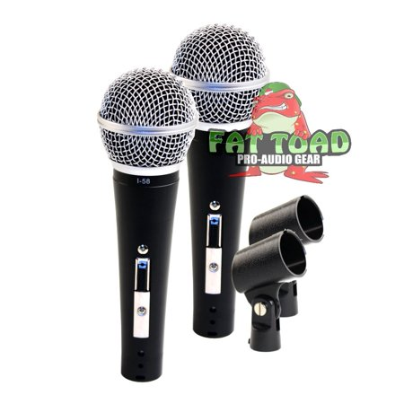 Dynamic Vocal Microphones with Clips (2 Pack) by Fat Toad Professional Cardioid Handheld, Unidirectional Mic Singing Microphone Designed for Music Stage Performances & Studio Recording or DJ Karaoke
