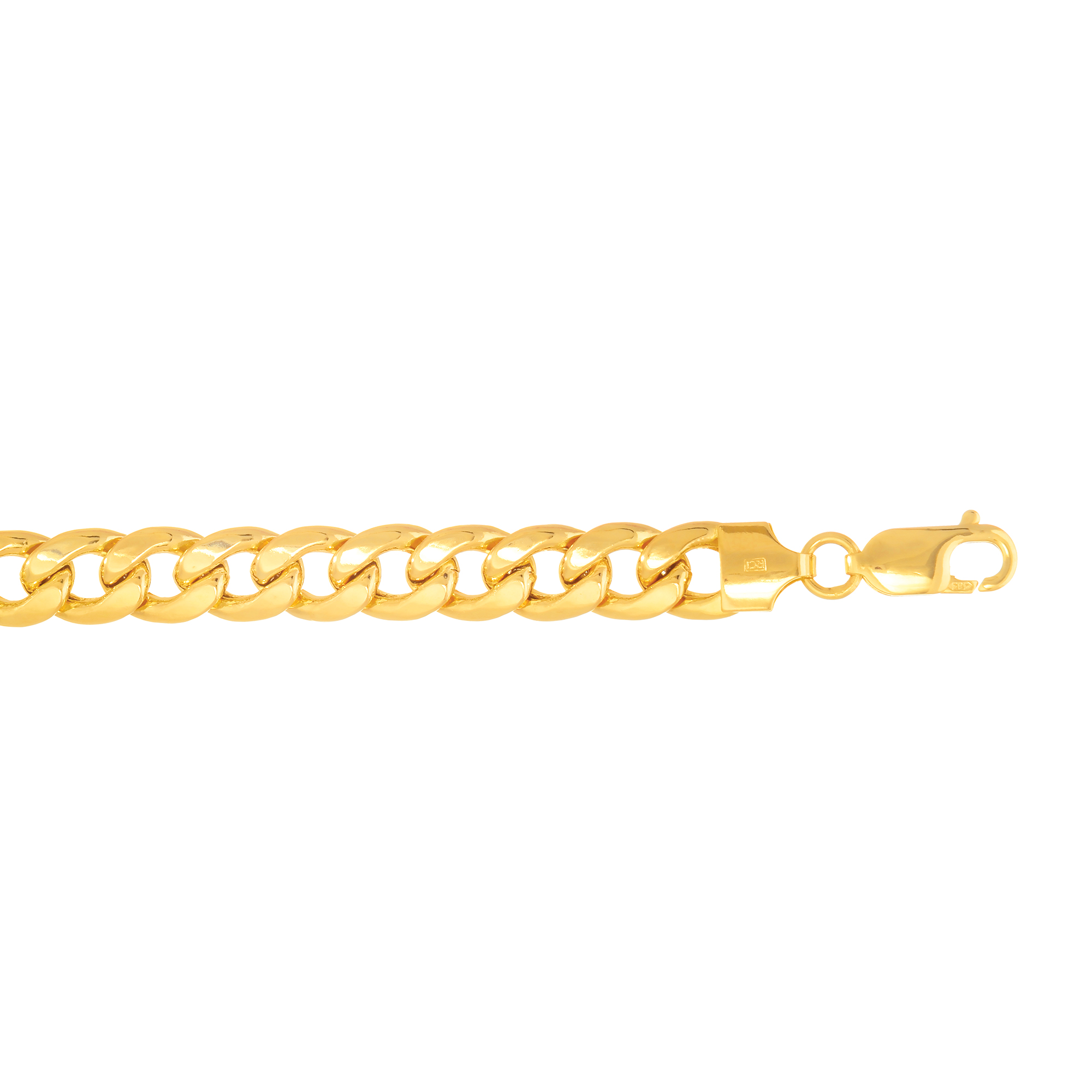 14k Yellow Gold 7.8mm Light Miami Cuban Link Bracelet Lobster Clasp by Goldia