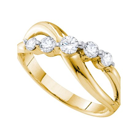 14kt Yellow Gold Womens Round Diamond 5-stone Crossover Band Ring 1/2 Cttw - image 1 de 1