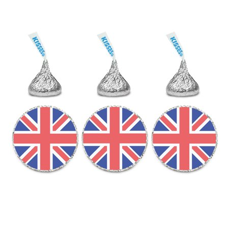 Global World Flag Party Collection, Chocolate Drop Label Stickers, United Kingdom England, 216-Pack - Microphone Flag Stickers
