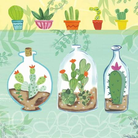 Cacti Garden I no Birds and Butterflies Poster Print by Farida Zaman