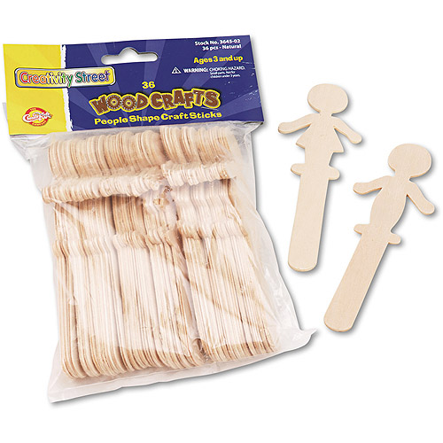 """Chenille Kraft People-Shaped Wood Craft Sticks, 5-3/8"""", Wood, Natural, 36 Pack"""