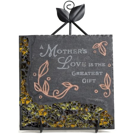 Pavilion-  A Mother's Love is the Greatest Gift Slate Green Mosaic Floral Plaque 5x5