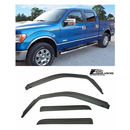For 09-14 Ford F-150 Crew Cab IN-CHANNEL Side Vents Window Visors Deflectors Rain Guard F150 2009 2010 2011 2012 2013 2014 09 10 11 12 13 14