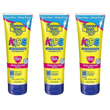 Banana Boat Kids UVA/UVB Protection Sunscreen Lotion, Broad Spectrum, SPF 50, 8 Oz (Pack of 3) ()