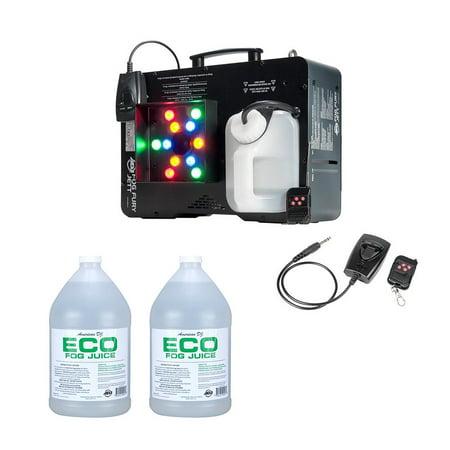 ADJ Fog Fury Jett Smoke Machine & LED Lights + Eco-Fog Juice Fluid, 2 - Halloween Swamp Juice