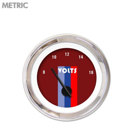 Aurora Instruments GAR267ZM by NABCC Volt Gauge - Metric Vintage Autobahn Red , Black Modern Needles, Chrome Trim Rings ~ Style Kit DIY (Aurora Kit Number)