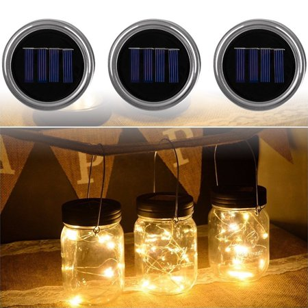 Solar Mason Jar Lids, EEEKit Mason Jar Fairy String Lights with 10 LED for Glass Mason Jars, Christmas Party Wedding Garden Yard Decoration Tree Jar Lantern Solar Lighting Lamps (Warm Light)-3 Pack - Lighted Lanterns