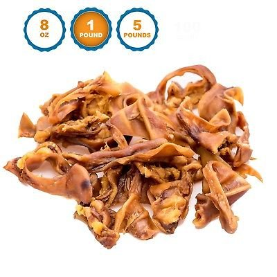123 Treats Pigs Ears Strips for Dogs Chews 100% Natural Healthy Pig Ear Slivers Dog Treats Pork Curls Pet Chew