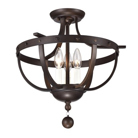 - Bopelo Faux Wood Grain Metal 3-Light Semi-Flush Ceiling Lamp