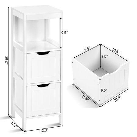 "GHP 12""x12""x35"" White MDF Bathroom Floor Cabinet with 2 Storage Drawers & Open Shelf"