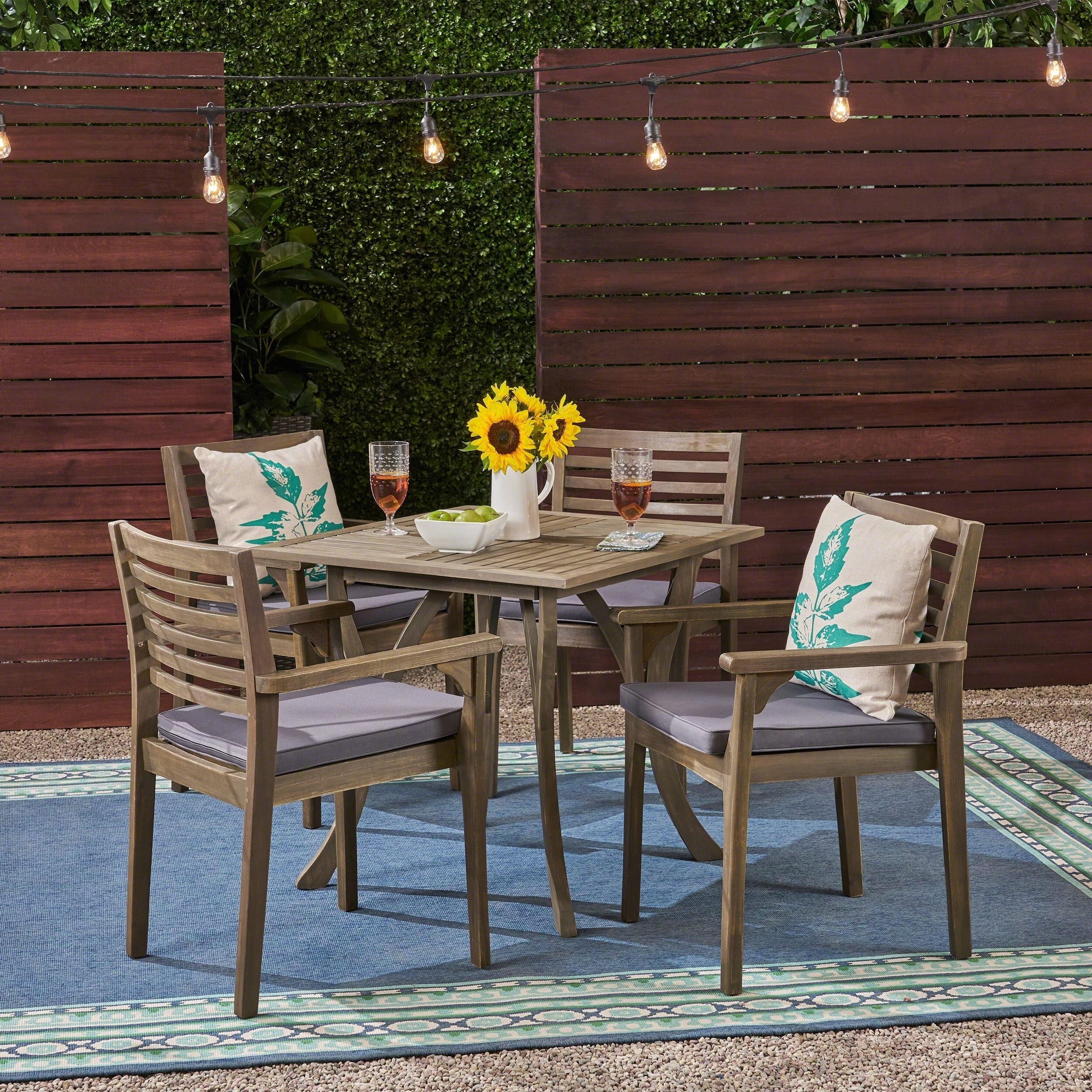 """Christopher Knight Home Casa Outdoor 4-Seater 32"""" Square Acacia Dining Set with Carved Legs by"""