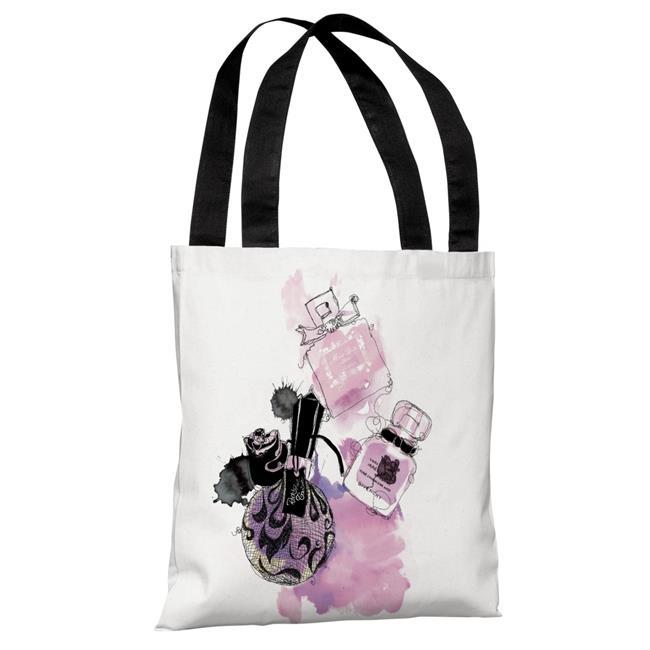 One Bella Casa 72951TT18P 18 in. Pink Perfumes Polyester Tote Bag by Judit Garcia Talvera, White - image 1 of 1