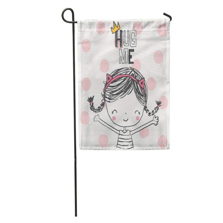 LADDKE Summer Cute Girl in Sketch Kids Fun Little Pencil Friends Garden Flag Decorative Flag House Banner 12x18 inch