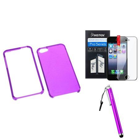 Insten T-Electric Purple Case For iPhone 5 / 5s + Film + Stylus Pen (3-in-1 Accessory Bundle) ()