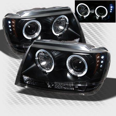1999-2004 Jeep Grand Cherokee Halo LED Projector Headlights Black Head Lights Pair Left+Right 2000 2001 2002 2003