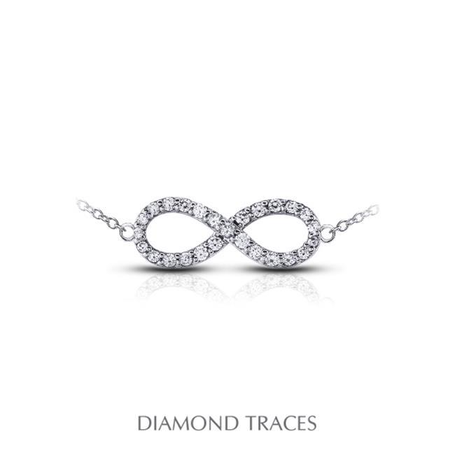 Diamond Traces 0. 37 Carat Total Natural Diamonds 18K White Gold Prong Setting Infinity Fashion Pendant