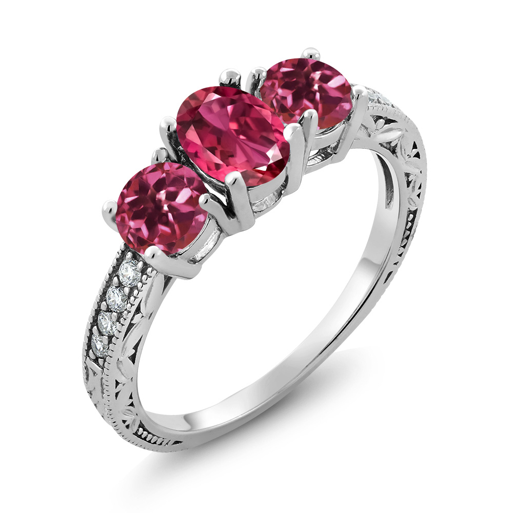 1.97 Ct Oval Pink Tourmaline 925 Sterling Silver Ring by