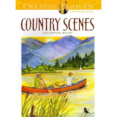 Country Scenes Adult Coloring Book for $<!---->