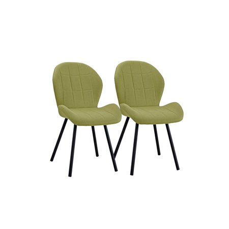 Set of 2 Dining Chairs Fabric Cushion Accent Chair for Kitchen (Green)