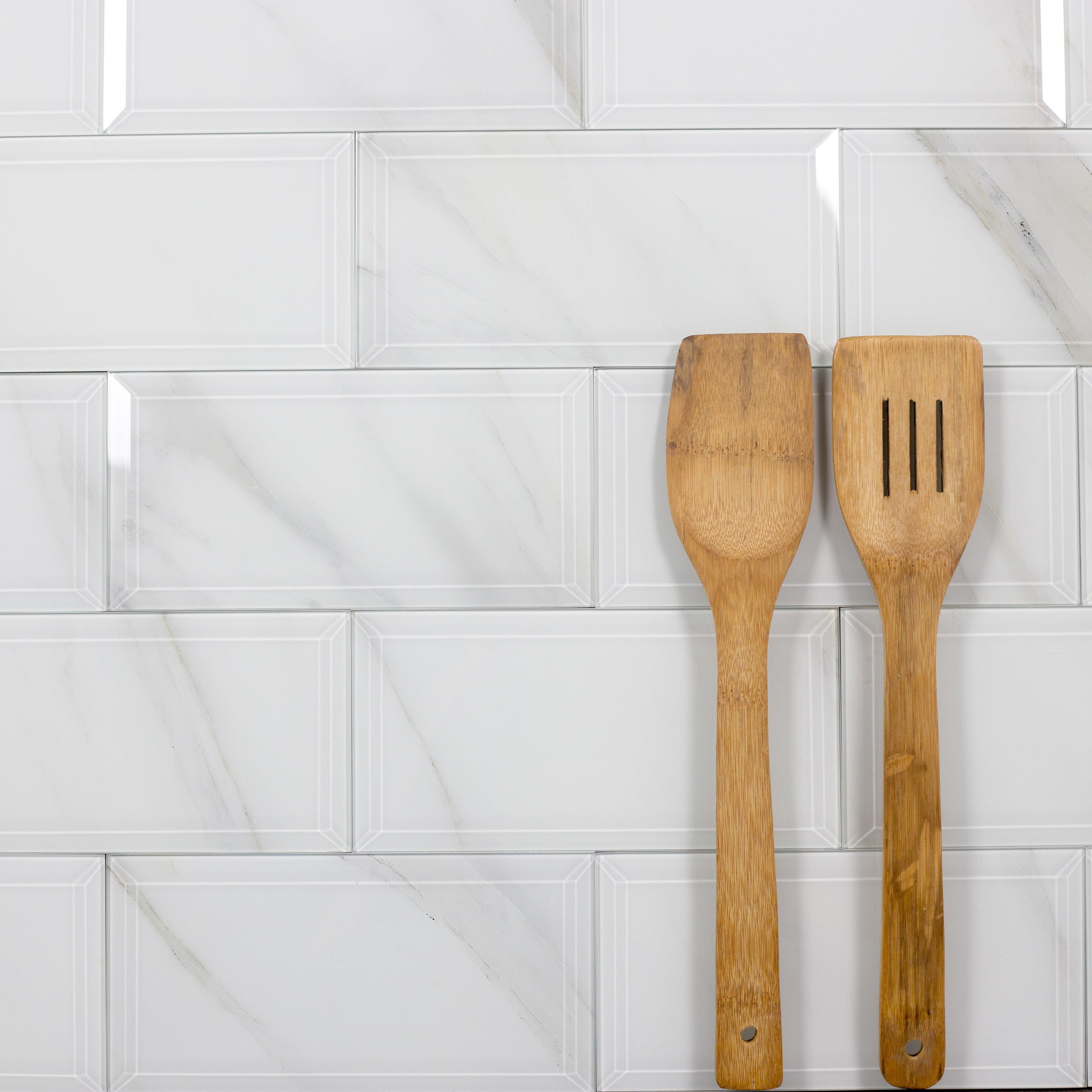 "Abolos- Nature Wall Backsplash Beveled Edge 4"" x 8"" Glass Subway Tile in Calacatta White (16sqft / 72pc Box)"
