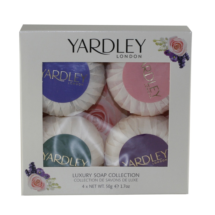 Yardley Of London Luxury Soap Collection 4 Pc Gift Set ( 4 Luxury Soaps 1.7 Oz Each Of English Lavender English Rose Lily Of The Valley & April Violets)
