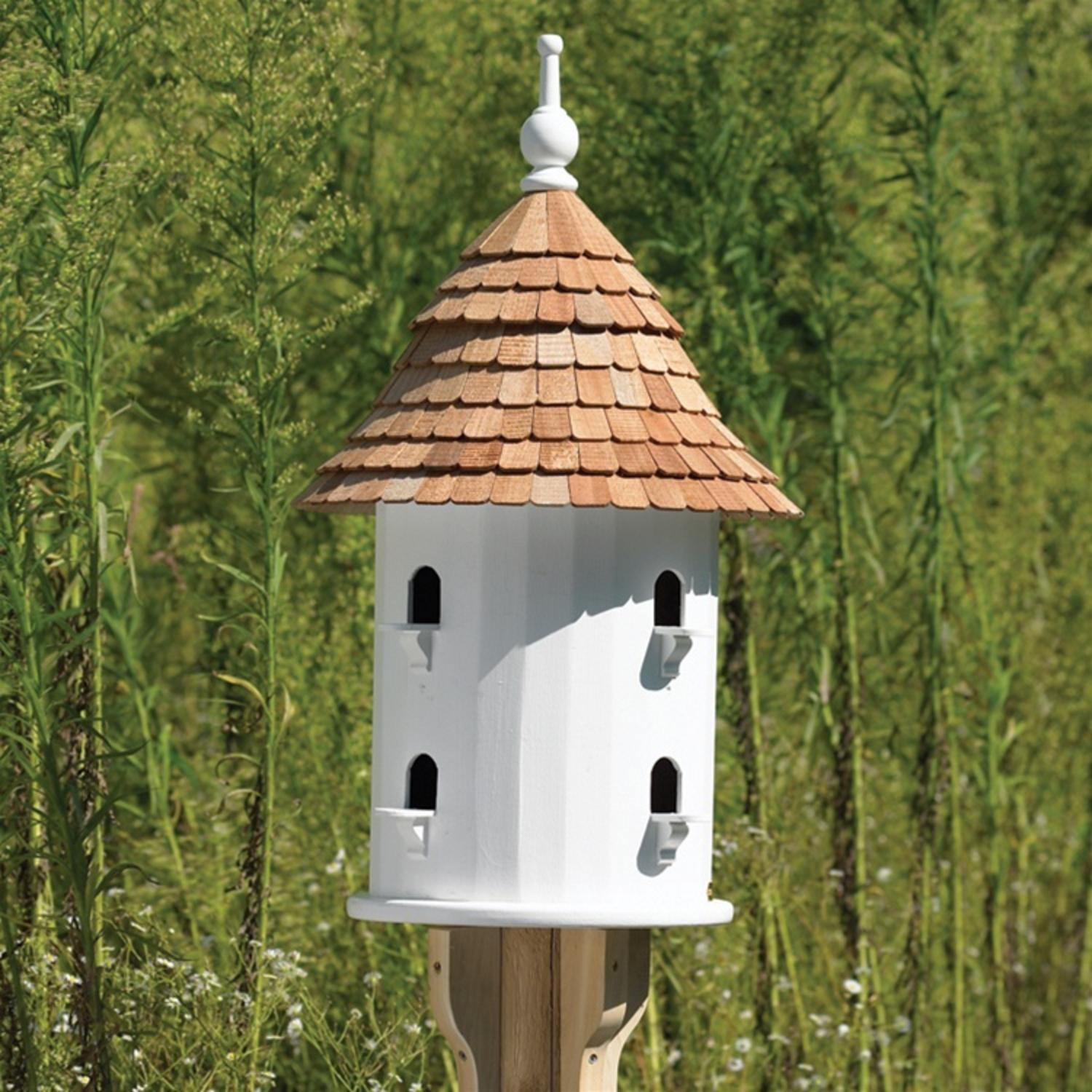 "28"" Handcrafted Fully Functional Round White Lazy Hill OUtdoor Garden Bird House"