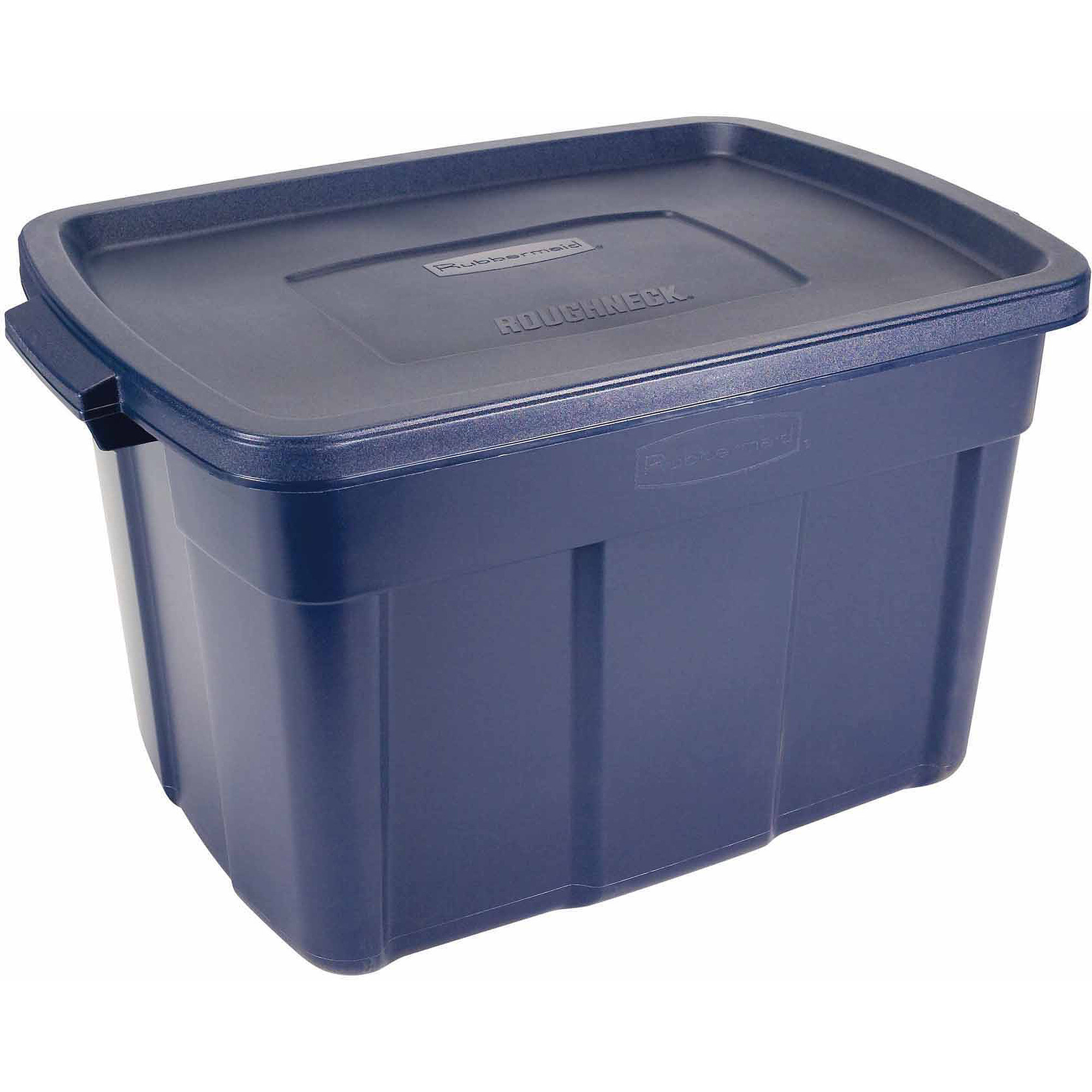 rubbermaid roughneck tote storage bin 25 galon blue. Black Bedroom Furniture Sets. Home Design Ideas