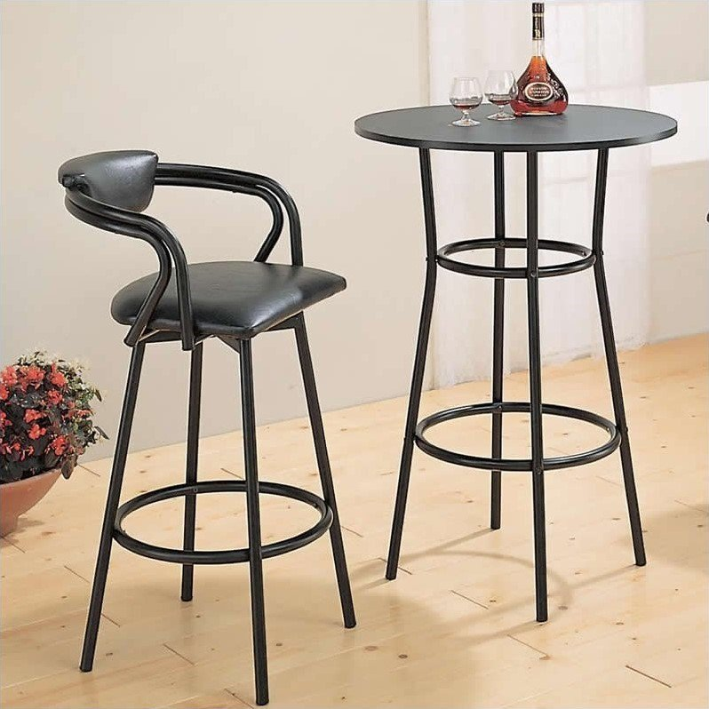 Coaster Dixie Round Metal Pub Table in Black by Coaster