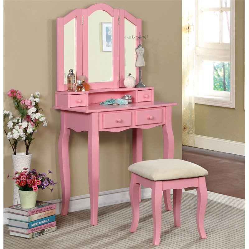 Furniture of America Brooke 2 Piece Kids Vanity Set in Pink