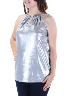 7a47eae3125960 Product Image INC Womens Silver Sleeveless Keyhole Top Size: S