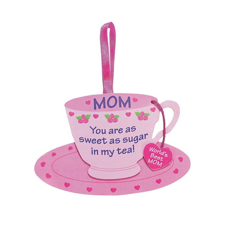 Fun Express - Mom Tea Cup Foam Ornament Craft Kit for Mother's Day - Craft Kits - Ornament Craft Kits - Foam - Mother's Day - 12 - Crafts For Mothers Day