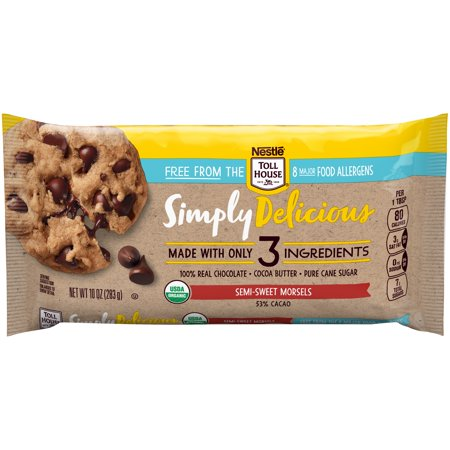 NESTLE TOLL HOUSE SIMPLY DELICIOUS Allergen-Free Semi-Sweet Chocolate Morsels – Chocolate Chips Made With Only Three Ingredients and Free From 8 Major Allergens, 10 oz. (Trader Joes Semi Sweet Chocolate Chips Nutrition Facts)