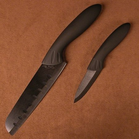 Stone River SRG23CKB Ceramic Santoku/Paring Knife Set Black 2 Pieces