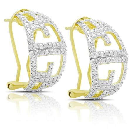 Gold Over Silver Diamond Accent Greek Key Design Hoop (White Gold Greek Key)