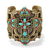 Sweet Romance Ancient Mayan Cross Artisan Vintage Cuff Bracelet