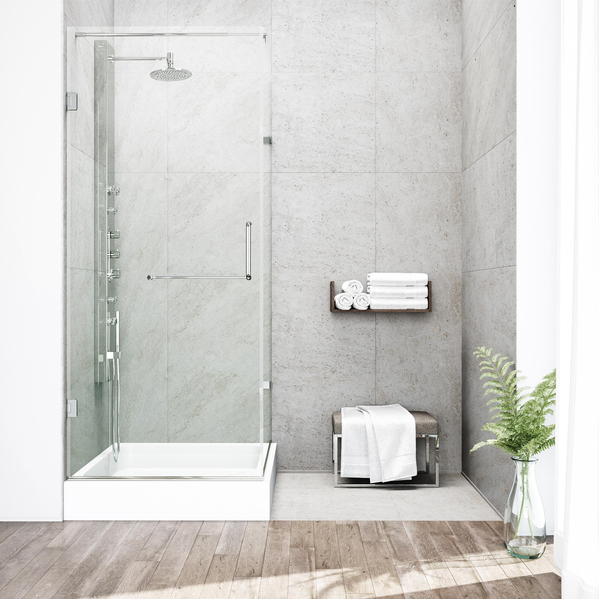 VIGO Pacifica 36 x 48 Frameless .375-in. Clear Glass/Brushed Nickel Hardware Shower Enclosure with Right Base