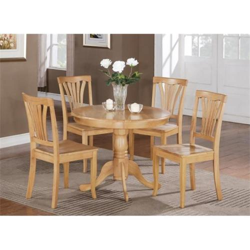 Wooden Imports Furniture BT5-OAK-W 5 PC Bristol Round Kitchen 36 inch Table and 4 Chairs with Wood seat in Oak Finish