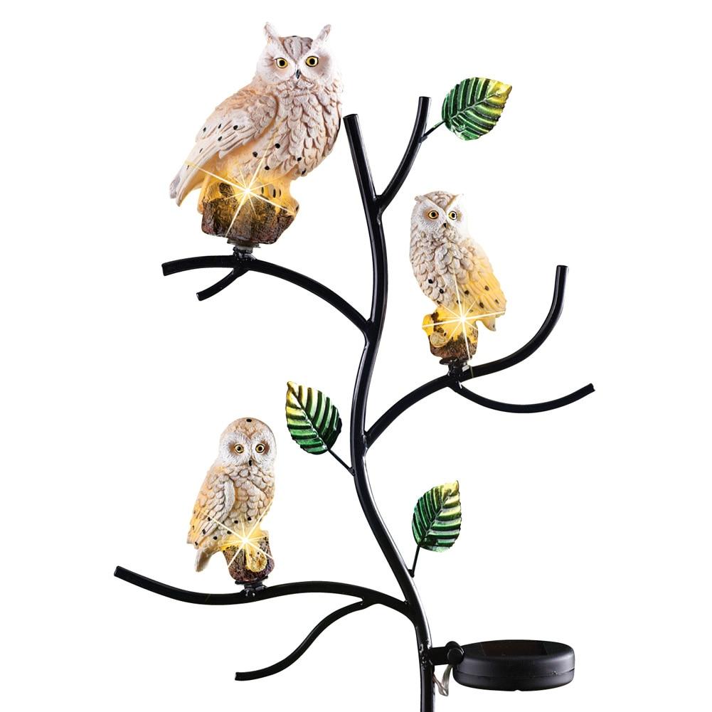 Solar Owl Family Garden Decor Yard Stake, Beige