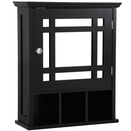 Mirrored Bathroom Kitchen Wall Storage Cabinet with Adjustable Shelf(Espresso) ()