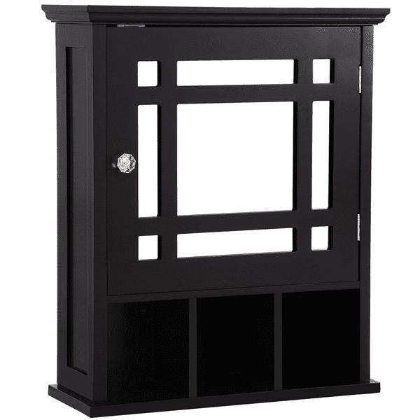 Mirrored Bathroom Kitchen Wall Storage Cabinet with Adjustable Shelf(Espresso)