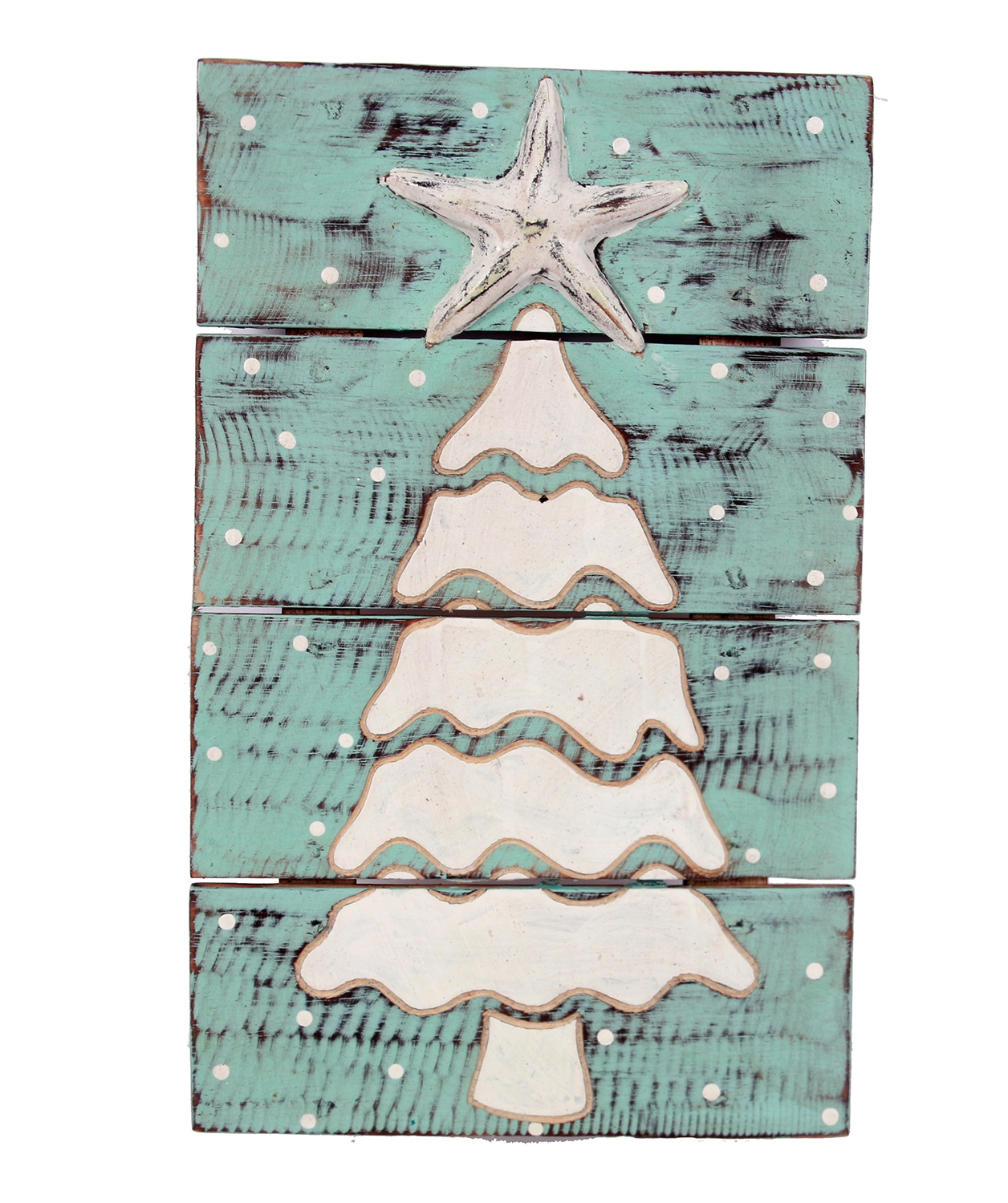 Christmas Tree and Starfish Wood Planked Wall Plaque 16 Inches by Dennis East