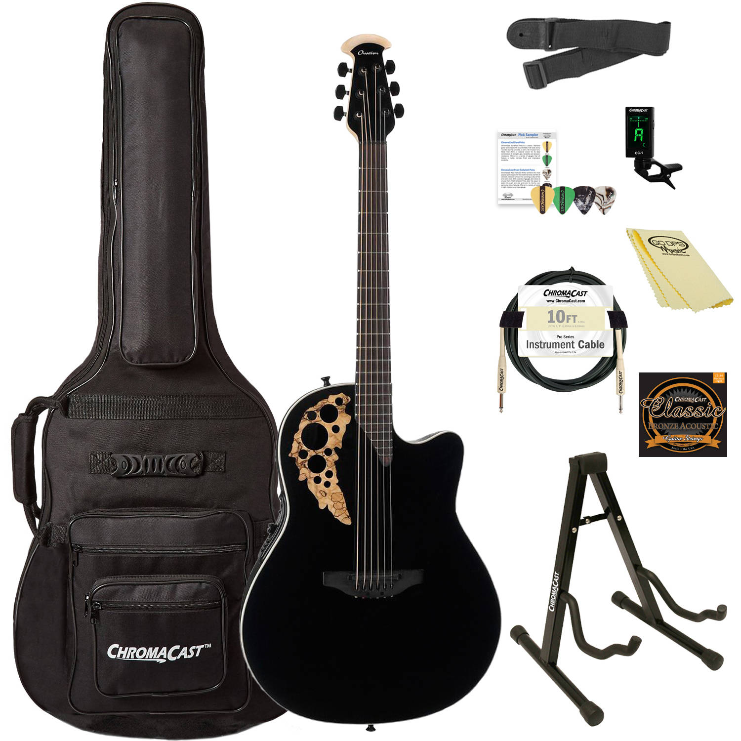 Ovation Elite TX Plus 1868TXP-5GSM Super Shallow Acoustic-Electric Guitar (Black Spalted Maple) with ChromaCast Accessories