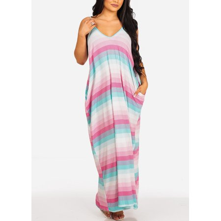 Womens Juniors Fashion Casual Oversized Stretchy Pink Stripe Print Flowy Spaghetti Strap Sun Tank Maxi Dress 30030V](Casual Flowy Dresses)